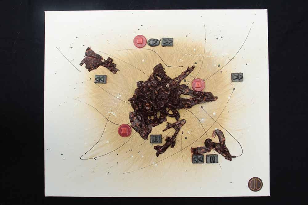 PLAY STOP REWIND - le forme del tempo opere in cioccolato su tela di Franco Ugetti