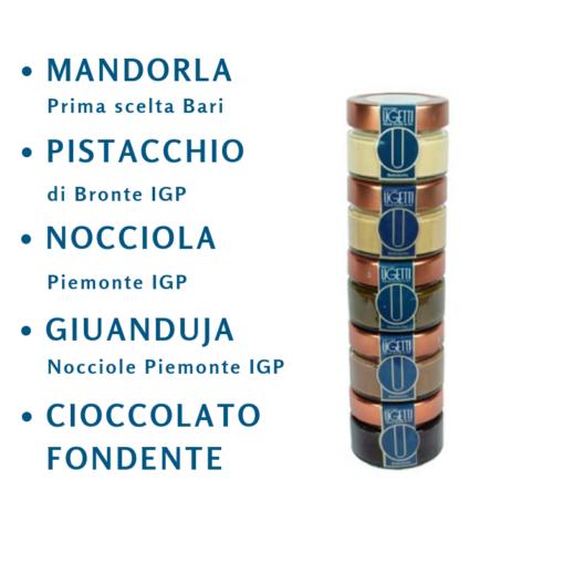 """creme spalmabili: confezione 5 gusti: Mandorla """"prima scelta Bari"""", Pistacchio di Bronte IGP, Nocciole piemonte IGP, Gianduja, cioccolato fondente"""