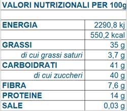Valori nutrizionali crema spalmabile al pistacchio ottenuta da pistacchio di Bronte IGP - Ugetti
