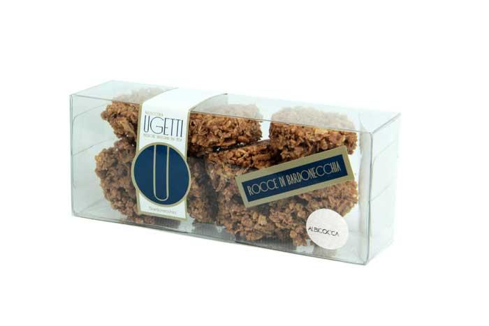 Rocce all'albicocca - Pasticceria Ugetti - Le rocce di Bardonecchia sono delle golosità croccanti a base di cioccolato, biscotto croccante, riso soffiato e frutta