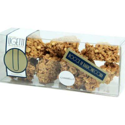 rocce al caramello - Pasticceria Ugetti - Le rocce di Bardonecchia sono delle golosità croccanti a base di cioccolato, biscotto croccante, riso soffiato e frutta