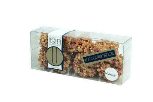 rocce al lampone - Pasticceria Ugetti - Le rocce di Bardonecchia sono delle golosità croccanti a base di cioccolato, biscotto croccante, riso soffiato e frutta