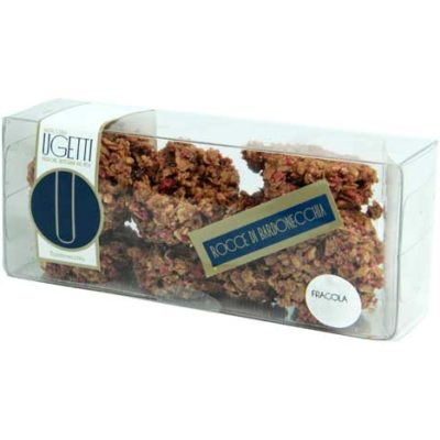 Dolci pasticceria: rocce alla fragola - Pasticceria Ugetti - Le rocce di Bardonecchia sono delle golosità croccanti a base di cioccolato, biscotto croccante, riso soffiato e frutta
